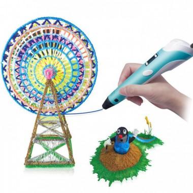 3D-ручка c экраном 3D Pen 2  с Набором Эко Пластика PLA (3 цветов) Голубая (85645blue)