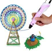 3D-ручка c экраном 3D Pen 2  с Набором Эко Пластика PLA (3 цветов) Розовая (85645pink)