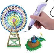 3D-ручка c экраном 3D Pen 2  с Набором Эко Пластика PLA (3 цветов) Фиолетовая (85645purple)
