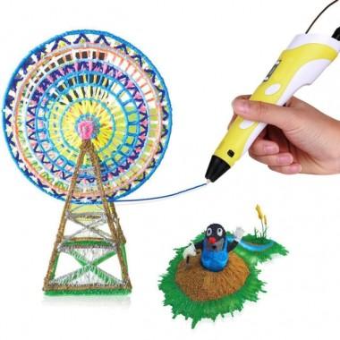 3D-ручка c экраном 3D Pen 2  с Набором Эко Пластика PLA (3 цветов) Желтая (85645yellow)