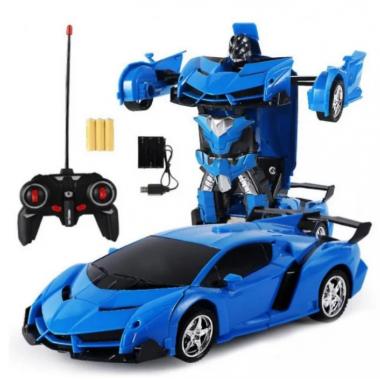 Машина Трансформер Lamborghini Robot Car Size 1:18 с пультом Синяя
